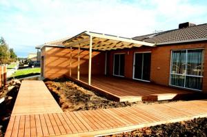 Flat Roof Pergola & Merbau Decking